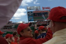 Second swing of the season, Harper's first of two home runs in two at-bats.