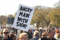 ANGRY MAN WITH SIGN